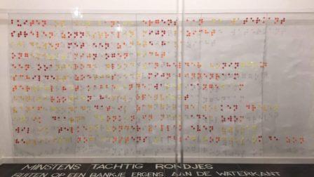 """Gedicht """"Meer dan tachtig rondjes"""" in braille"""